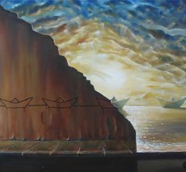 Viaggio nel mare dei sogni quadro surreale olio su tela