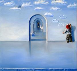 Sogni e speranze quadro surrealista olio su tela