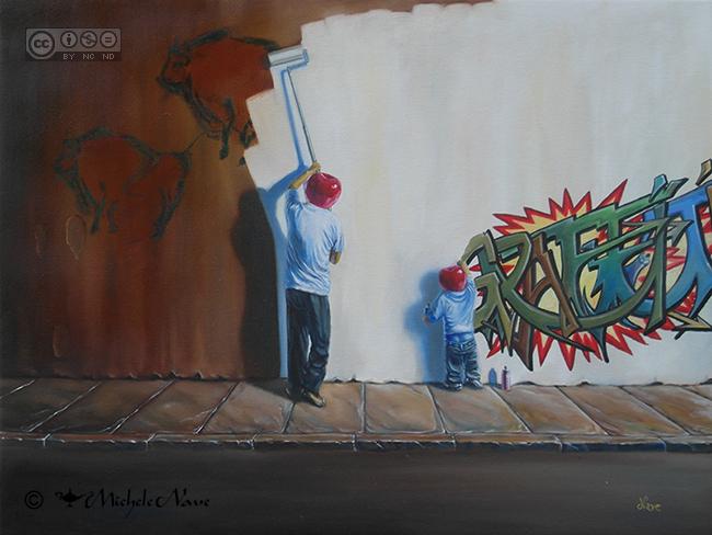 graffiti opera surrealista olio su tela