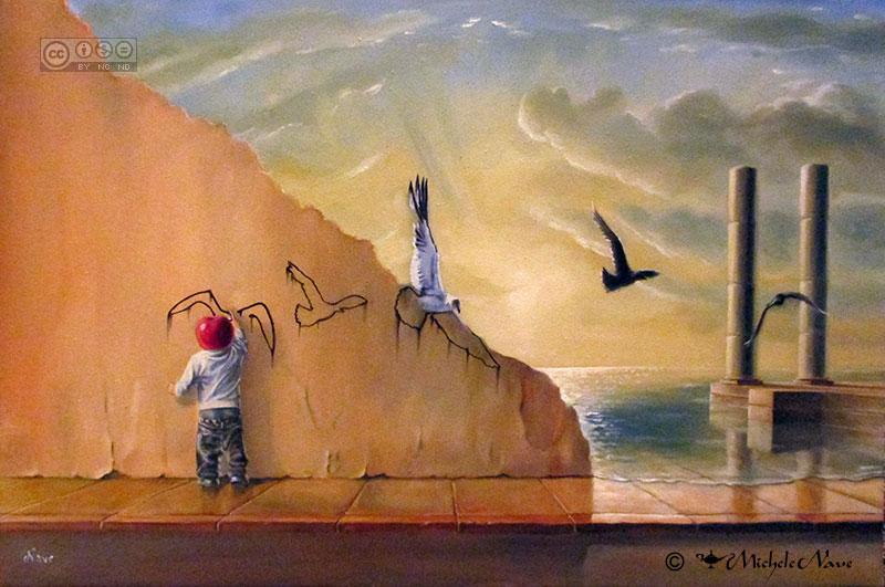 Oltre i confini bambino che dipinge i gabbiani